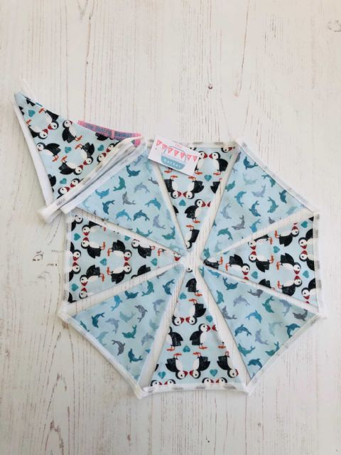 Puffins and Dolphins Mini Cotton Bunting ( Price inc P&P) with 14 Flags
